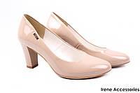 Элегантные туфли женские Zan Zara эко-лак (изысканные, удобная колодка, каблук, беж)