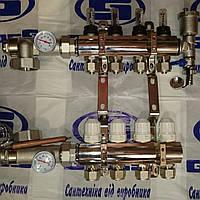 """Колектор для теплої водяної підлоги (гребінка) 1""""х 7 виходів"""