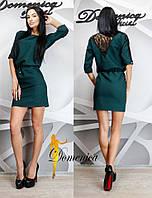 Платье офисного стиля с гипюром
