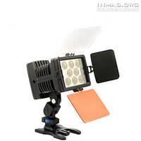 Накамерный светодиодный свет LED-5080 со шторками, 5000K-6000K (3500K/фильтр) + АБ + З/У.