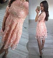 Платье из дорогого гипюра с пайетками и вышивкой