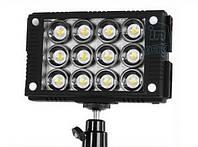 Накамерне світлодіодний світло LED W12, 5600K (3200K/фільтр).