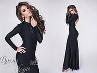 Вечернее платье с вырезом на спинке. Чёрное, 5 цветов.
