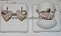Комплект украшений с белыми фианитами и золотом Венера