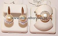 Комплект украшений с жемчугом, фианитами и золотом Галина
