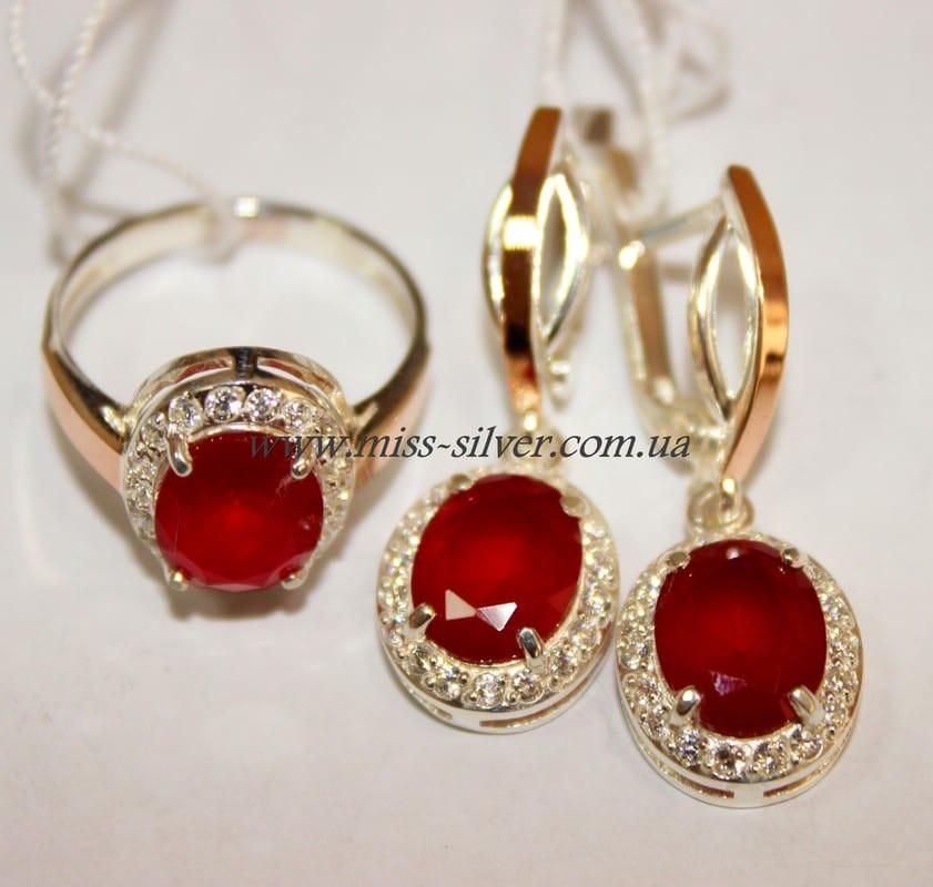 69c52478968b Комплект серебряный с золотом и красным рубином им. Анжела - Miss Silver –  магазин ювелирных