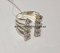 Открытое кольцо из серебра с цирконами Фея