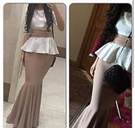 Платье в пол с баской в стиле рыбки