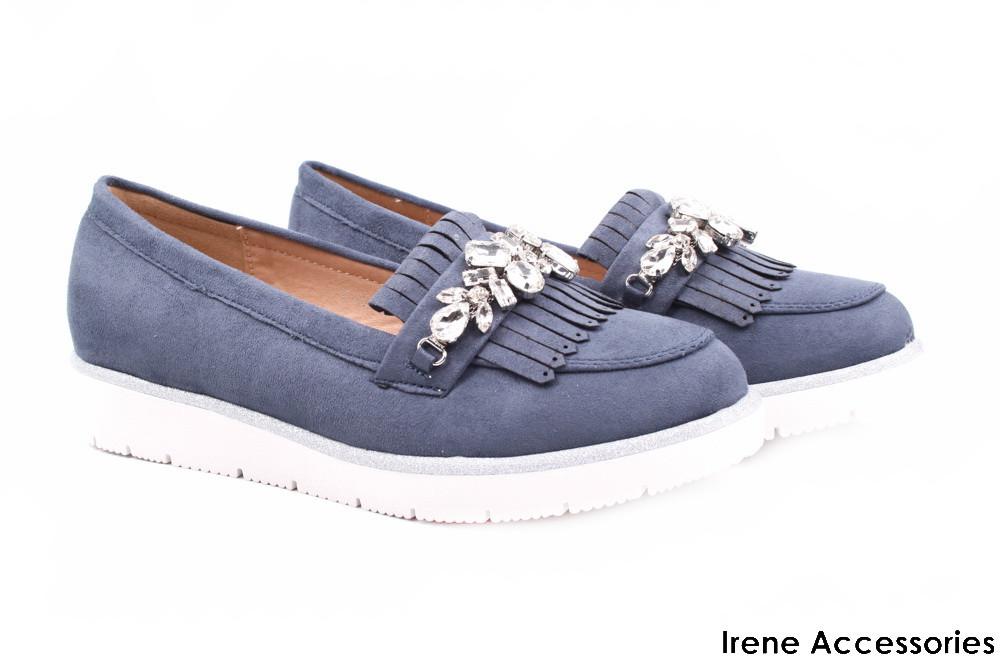 Стильные туфли женские Vices эко-замш (комфортные, платформа, голубой,  декор) 2f5b27e50e4