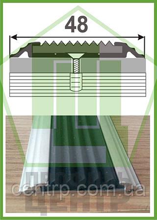 Антискользящая накладка с резиновой вставкой УЛ 150. Анодированная, длина 1,0 м