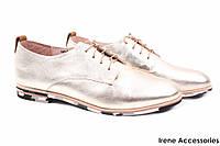 Стильные туфли женские Dina Fabiani натуральная кожа (комфортные, каблук, золото, шнуровка)