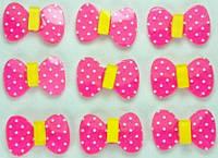 Кабошон  бантик 50шт  ярко-розовые