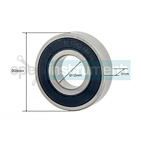 Подшипник 6001RS резина наружный Ø 28 мм, внутренний Ø 12 мм, ширина 8 мм