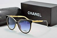 Солнцезащитные очки Chanel черные с молочной оправой, фото 1