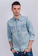 Рубашка мужская джинсовая светлая 374K004 (Голубой варенка)