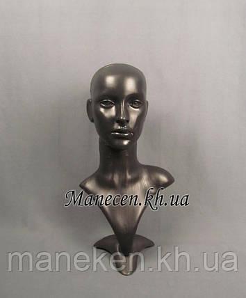 Манекен бюст с выдувной головой черный, фото 2