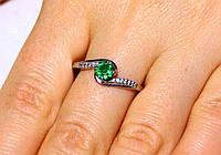 Кольцо серебро 925 проба 19 размер АРТ1228 Зеленый, фото 1