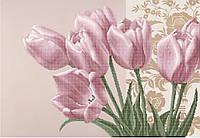 """Схема для вышивки бисером на атласе """"Розовые тюльпаны"""""""