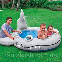 """Детский надувной бассейн INTEX 57433 """"Акула"""" 229-226-107см, высота борта 18см, с душем IKD /61-31"""