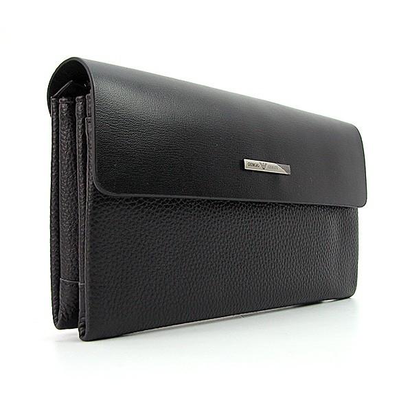 Клатч чоловічий шкіряний класика clutch чорний Armani 3513-1