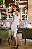Платье bodycon миди с декольте АРТ! 381