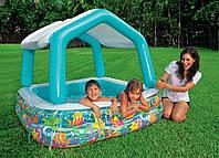 Детский надувной бассейн INTEX 57470 квадратный, со съёмной крышей, 157-122см IKD /00-42