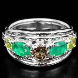 Серебряное кольцо с натуральными Раухтопазом Авантюрином Перидотом и Cz