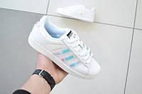 Подростковые+женские кроссовки Adidas superstar белые с радугой