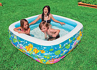 """Детский надувной бассейн INTEX 57471""""Аквариум"""" прямоуг,винил,(3+ лет)с рем комплектом,159*159*50см IKD /88-71"""