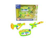 Игрушечный набор музыкальных инструментов, батарейки в комплекте.
