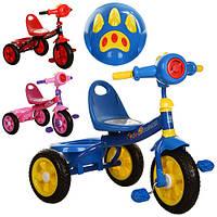 Велосипед M 3170-2 три колеса,3 цвета (красн., голуб., розов.), муз, свет, зад.корзина, спинка на сид