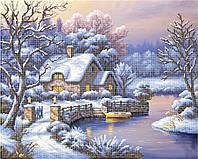 """Схема для вышивки бисером на атласе пейзаж """"Зима"""""""