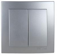 Выключатель двухклавишный Серебро Plus