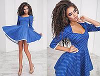 Расклешенное платье из коттона в горошек