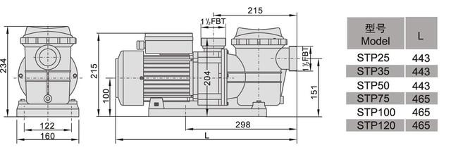 Размеры насоса для бассейна AquaViva LX STP300
