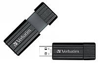 Флешка 16Gb Verbatim PinStripe, Black / 49063