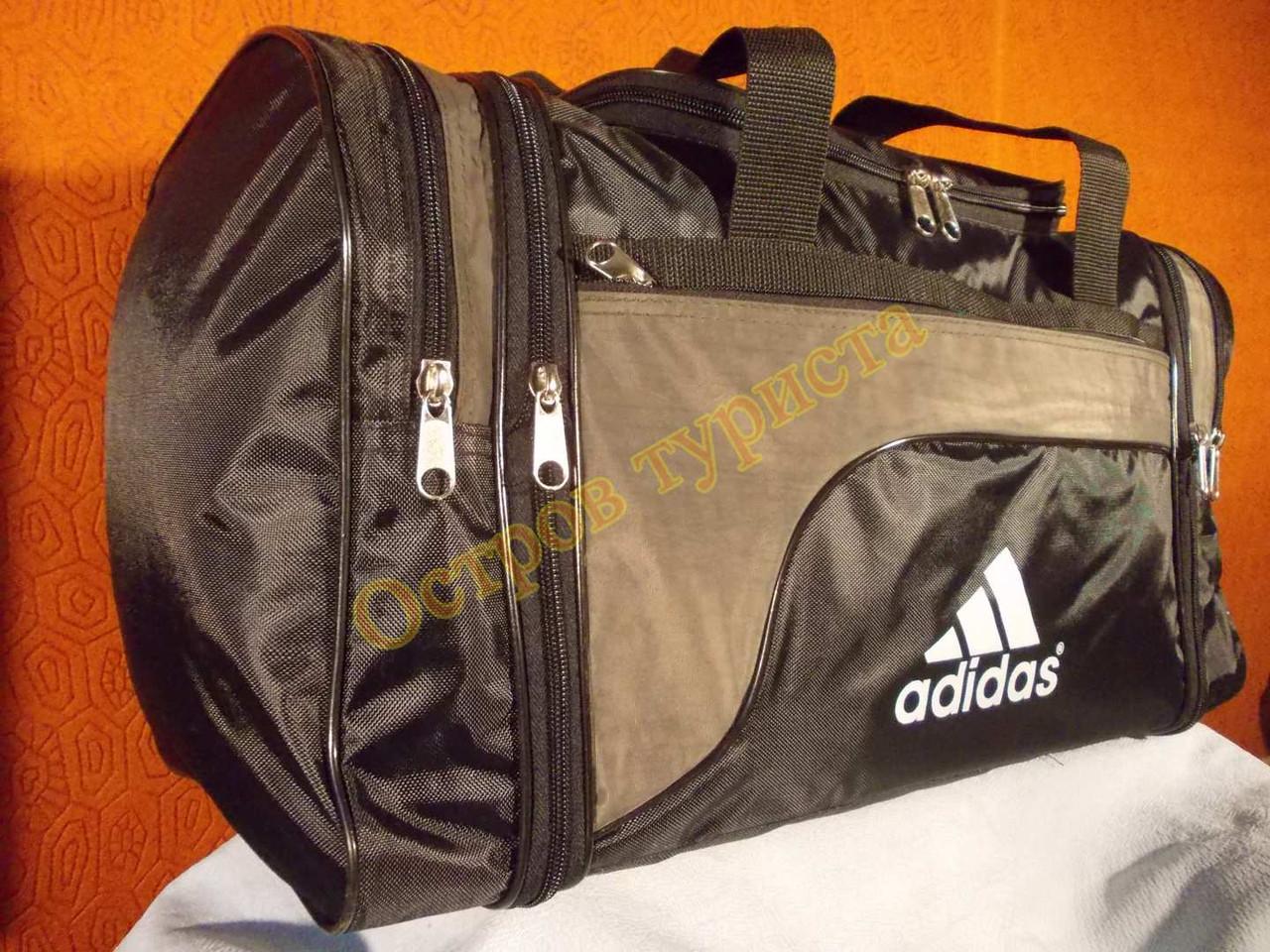 Сумка спортивная дорожная Adidas 278 регулируемый объем серо-зеленая