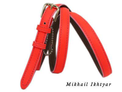 Женский кожаный поясок ремень Mykhail Ikhtyar 3887 ултра оранж ШхД: 1,5 х107 см.