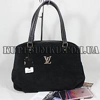 Стильная практичная черная замшевая сумка на три отделения