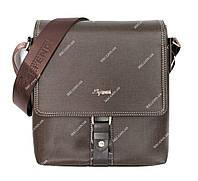 Чоловіча сумка через плече коричнева імітація тканини (078-к)