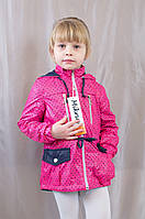 Красивая детская демисезонная куртка ветровка в горошек, р.110,116,122,128,134