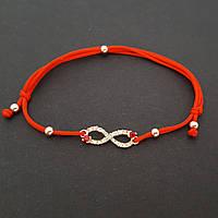 Браслет красная-нить с позолоченой подвеской