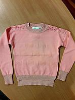 Реглан для девочки персикового цвета, ажурная вязка