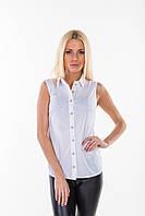 Блуза классическая без рукава белый
