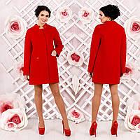 Демисезонное пальто прямого кроя F 77997  Красный  Тон 49