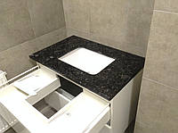 Столешница для ванной комнаты, под умывальник черного цвета с нижней подклейкой
