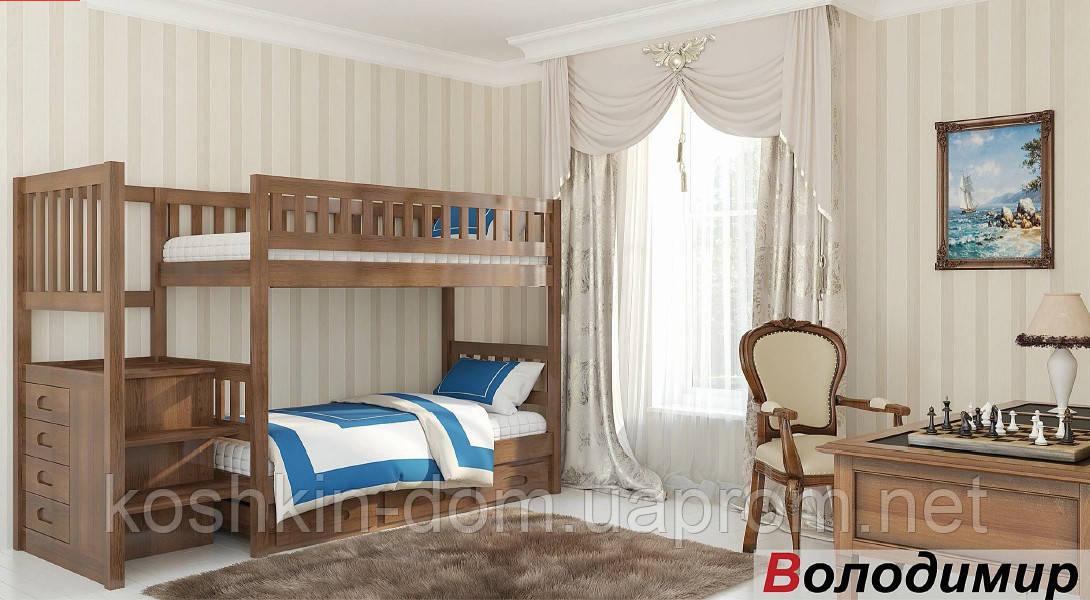 Двухъярусная кровать Владимир с ящиками, из натурального дерева (детская, трансформер)