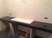 Столешница для ванной комнаты, под умывальник черного цвета ( Габбро)