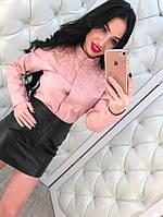Рубашка женская с бусинами Розовый, ХЛ