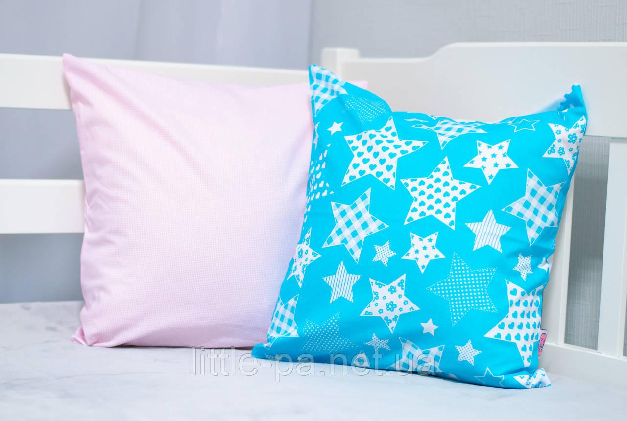 """Подушка хлопковая для детской кроватки """"Звездопад"""" (с розовым)"""